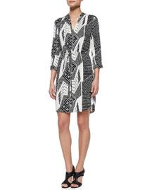 Mixed-Print Shirttail Dress, Black Multi