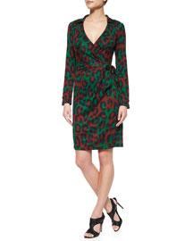 Savanna Leopard-Print Wrap Dress, Medium Green