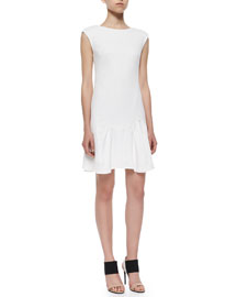 Knit Pique Flare-Skirt Dress, White