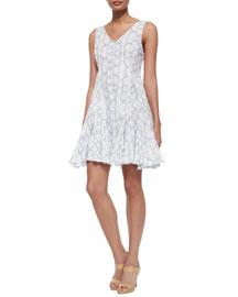 Tie-Dye-Print V-Neck Dress, Frost