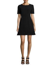 Polycrepe A-Line Dress, Black