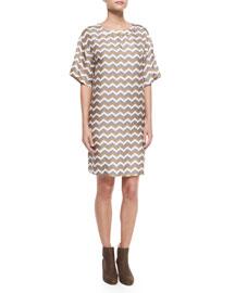 Chester Chevron-Print Silk Dress