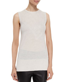 Carolyn Sleeveless Lace-Inset Knit Top