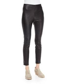 Simone Leather Ankle Pants, Black