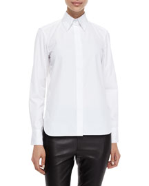 Faye Long-Sleeve Poplin Shirt, White