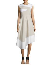 Sleeveless Asymmetric A-Line Dress, Bone/Ivory