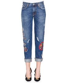 Denim Jeans with Paisley Patches