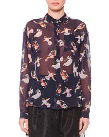 Sheer Bird-Print Silk Blouse