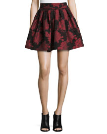 Stora Floral-Jacquard Pleated Skirt