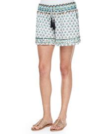 Tesori Floral Cotton Shorts, Coconut