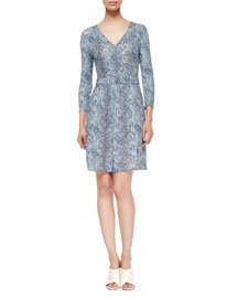 V-Neck Three-Quarter Sleeve Shift Dress, Navy
