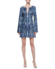 Bell-Sleeve Paisley-Print Dress