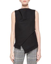 Sleeveless Wrap-Front Fringe Top, Black