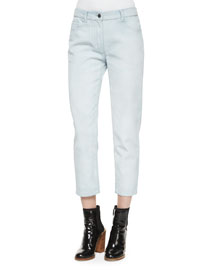 Ceramic Washed Saddle Ankle Jeans, Glacier