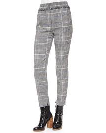 Herringbone-Print Fringe Pants, Black/White