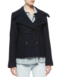 Trompe l'Oeil Denim Double-Breasted Wool Jacket
