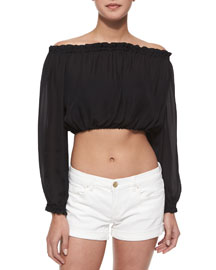 Denny Ruffle-Trim Crop Top, Black