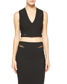 Otto Mesh-Trim Crop Top, Black