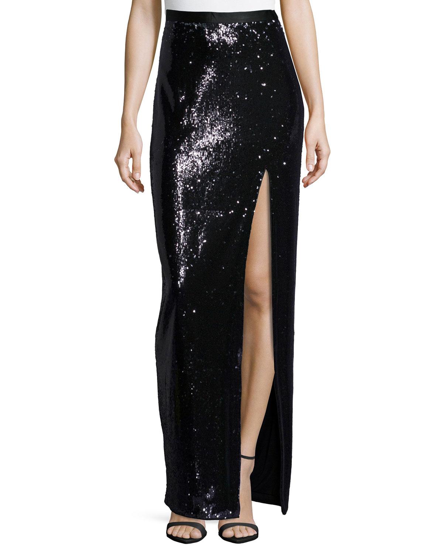 Halston Heritage Long Sequined Skirt W/ High Slit, Size: 8, Black/Grey