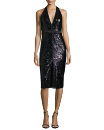 Sleeveless V-Neck Sequined Cocktail Dress