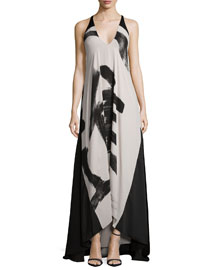 Sleeveless Calligraphy-Print Flowy Dress
