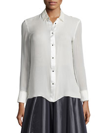 Long-Sleeve Button-Front Top