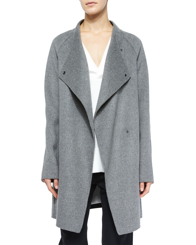 Vince Two-Tone Sweater-Back Coat, Size: LARGE, Chrcoal Melng/Black