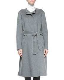 Wool-Blend Belted Car Coat