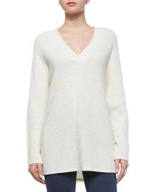 Traveling V-Neck Ribbed Sweater