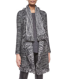 Frayed-Edge Textured Cardigan, Black/White