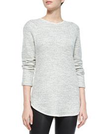 Textured Long-Sleeve Raglan Top, Off White/Black