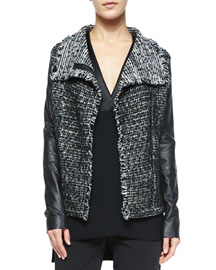 Leather-Sleeve Draped Jacket