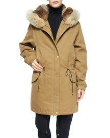 Fur-Lined Parka Coat, Brass Khaki