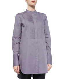 Knife-Pleated Cotton Poplin Tunic