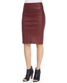 Lamb Leather Pencil Skirt
