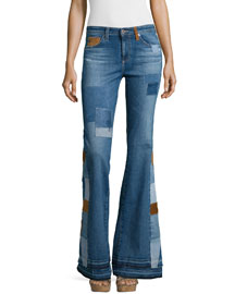 Angel High-Waist Flare Jeans, 11 Years Patchwork