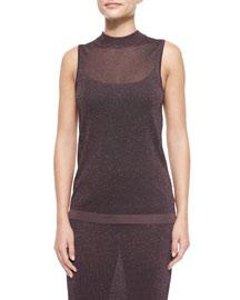 Marie Metallic Knit Sleeveless Top, Nightshade