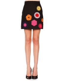 Wool Macrame Patch Skirt