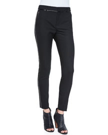 Leather-Piped Slim-Fit Trousers, Black