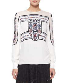 Tobie Embroidered Blouse, White
