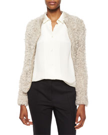 Kald Lamb Shearling Fur Zip Jacket, Beige