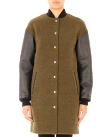 Leather-Sleeve Wool-Blend Bomber Jacket, Lichen