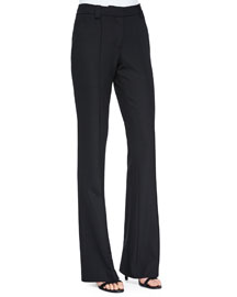 Joseph Twill Boot-Cut Pants, Black