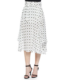 Leto Silk Medallion-Print Skirt, White