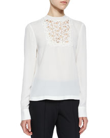 Bond Floral Lace Silk Top, White