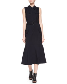 Hayden Sleeveless Belted Shirtdress, Navy