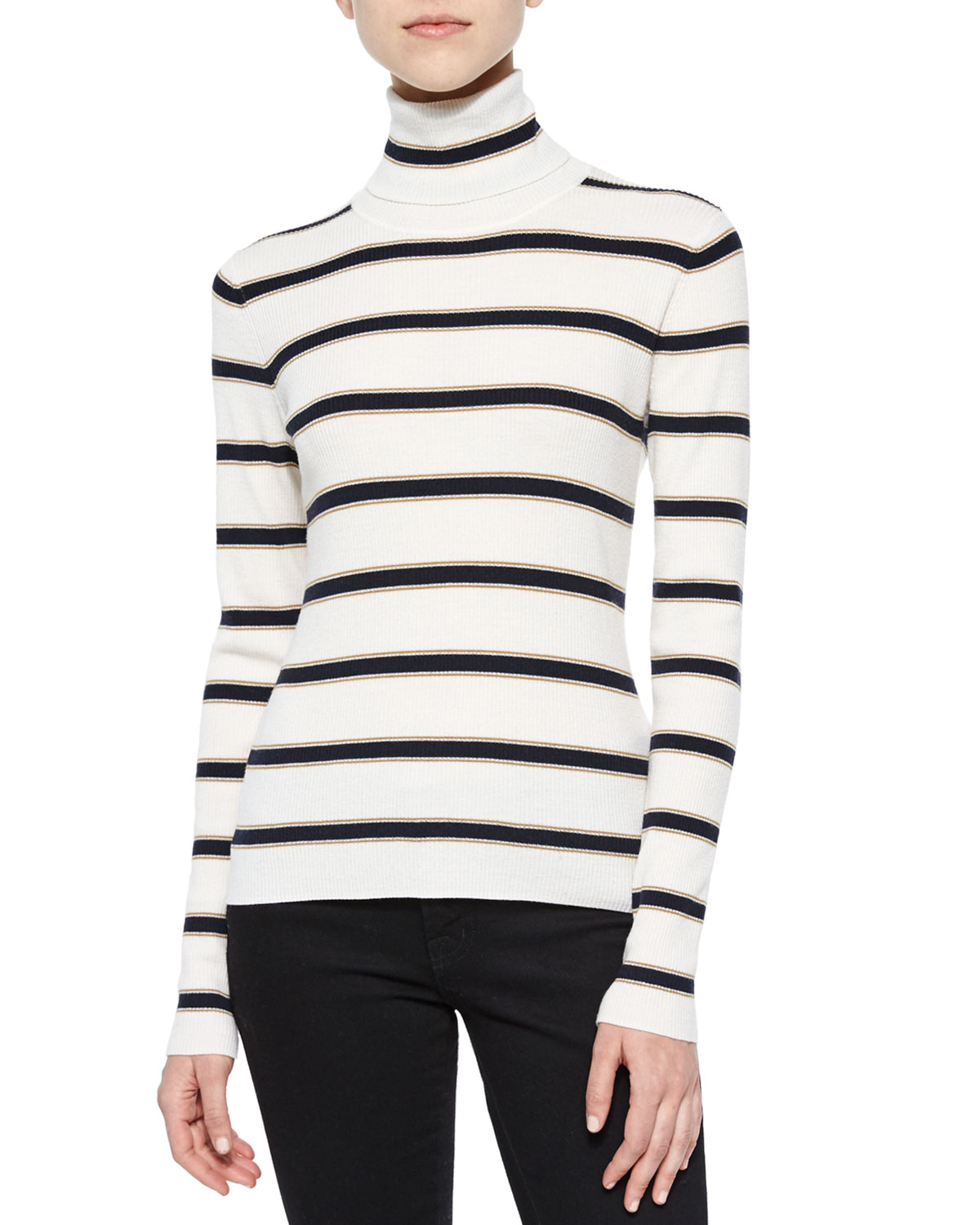 A.L.C. Ollie Striped Turtleneck Sweater, Size: LARGE, White/Navy/Tan