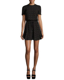 Charlotte Medallion-Print Silk Tie-Waist Dress, Black