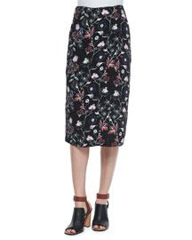Daniels Floral-Print Silk Skirt, Black