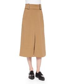 Baker Belted Crepe A-Line Skirt, Camel